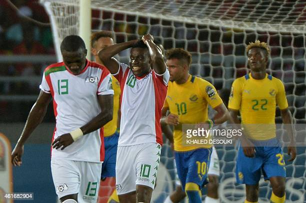 Burkina Faso's Alain Traore reacts after missing a chance to score during the 2015 African Cup of Nations group A football match between Burkina Faso...