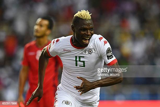 Burkina Faso's forward Aristide Bance celebrates after scoring a goal during the 2017 Africa Cup of Nations quarterfinal football match between...