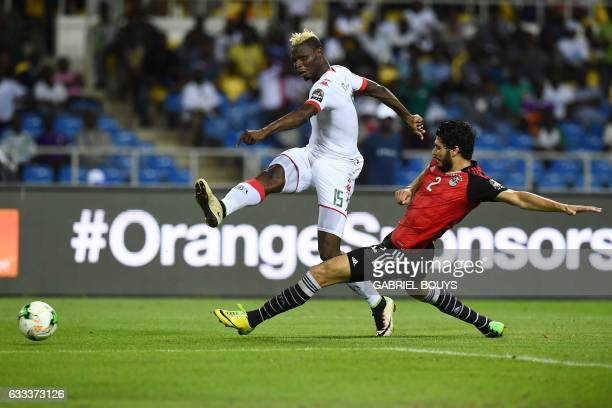 TOPSHOT Burkina Faso's forward Aristide Bance kicks the ball past Egypt's defender Ali Gabr during the 2017 Africa Cup of Nations semifinal football...