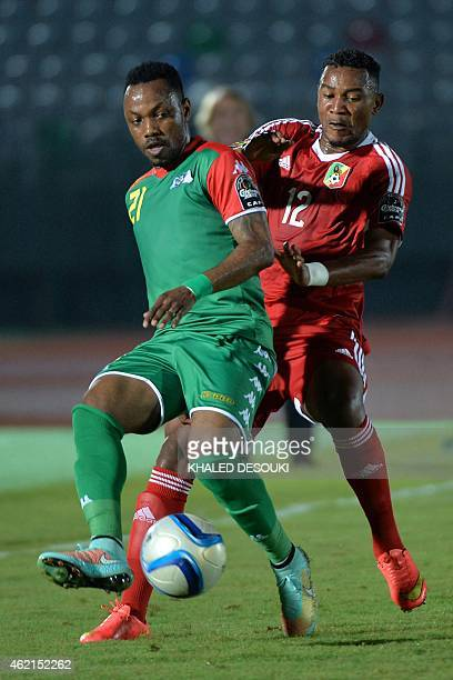 Burkina Faso's midfielder Abdou Razack Traore challenges Congo's forward Francis Litsingi during the 2015 African Cup of Nations group A football...