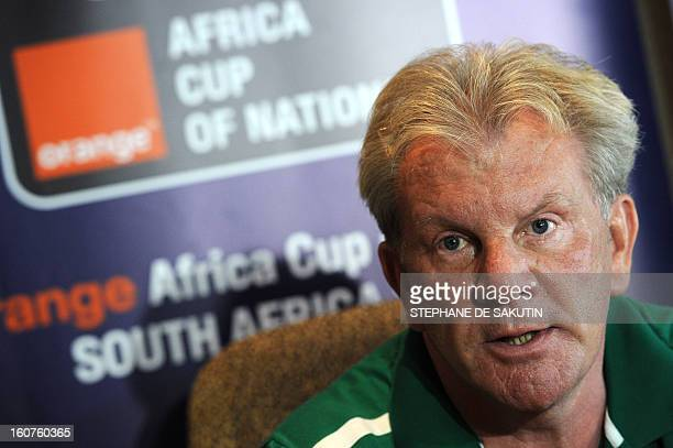Burkina Faso's national football team Belgian head coach Paul Put speaks at a press conference in Nelspruit on February 5 2013 on the eve of a 2013...