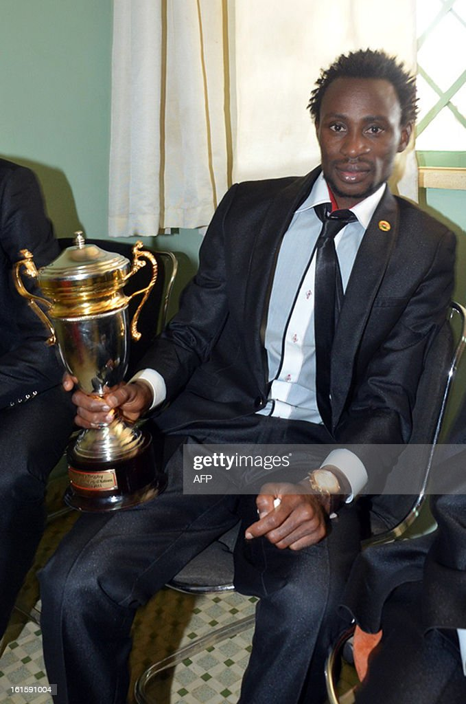 Burkina Faso's national football team Jonathan Pitroipa who was voted 2013 Africa Cup of Nations Man of the Tournament, poses on February 12, 2013 after a meeting with Burkina Faso president in Ouagadougou, two days after their first ever final football match of an Africa Cup of Nations.