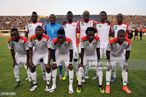 Burkina Faso's national football team players pose prior to the 2017 African Cup of Nations qualification football match between Burkina Faso and...