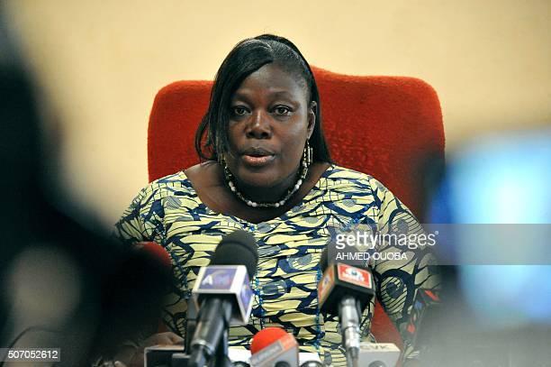 Burkina Faso's Prosecutor Maiza Sereme speaks during a press conference at the Justice palace in Ouagadougou on January 27 following the jihadist...