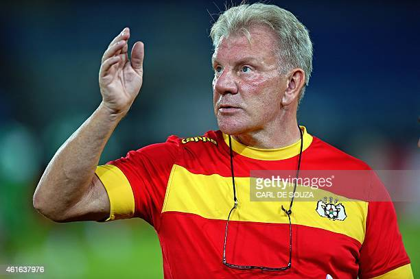 Burkino Faso's belgian head coach Paul Put gestures during a training session at the Bata stadium Equatorial Guinea on January 16 2015 ahead to the...