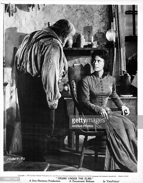 Burl Ives approaches Sophia Loren in a scene from the film 'Desire Under The Elms' 1958