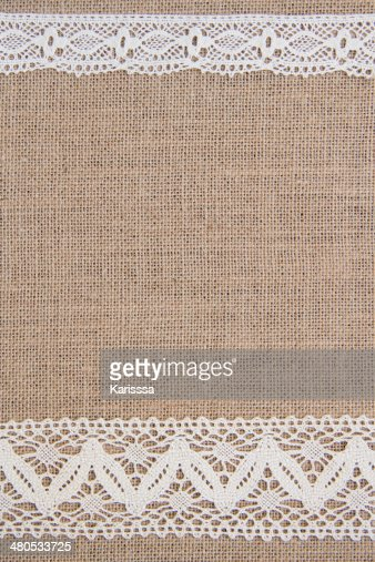 Burlap background with lace : Stockfoto
