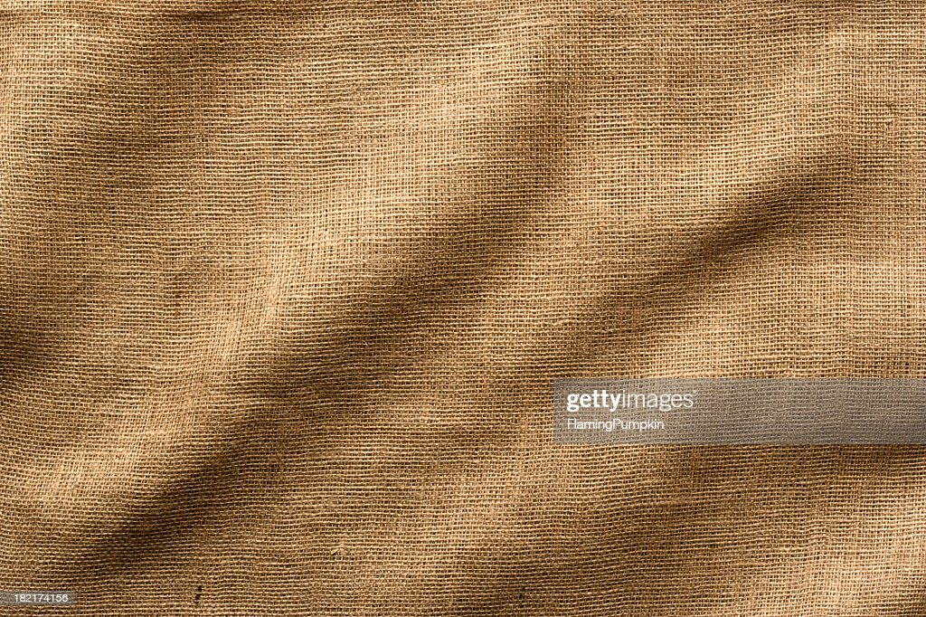 'Burlap Fabric with Wrinkles, Wide Shot. Full Frame.'