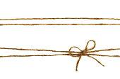 Burlap rope bow isolated on white background.