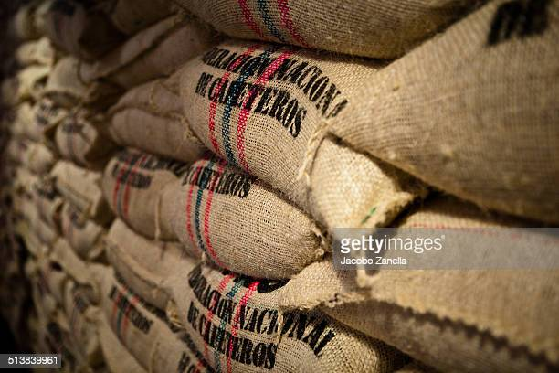 Burlap sacks full of coffee beans