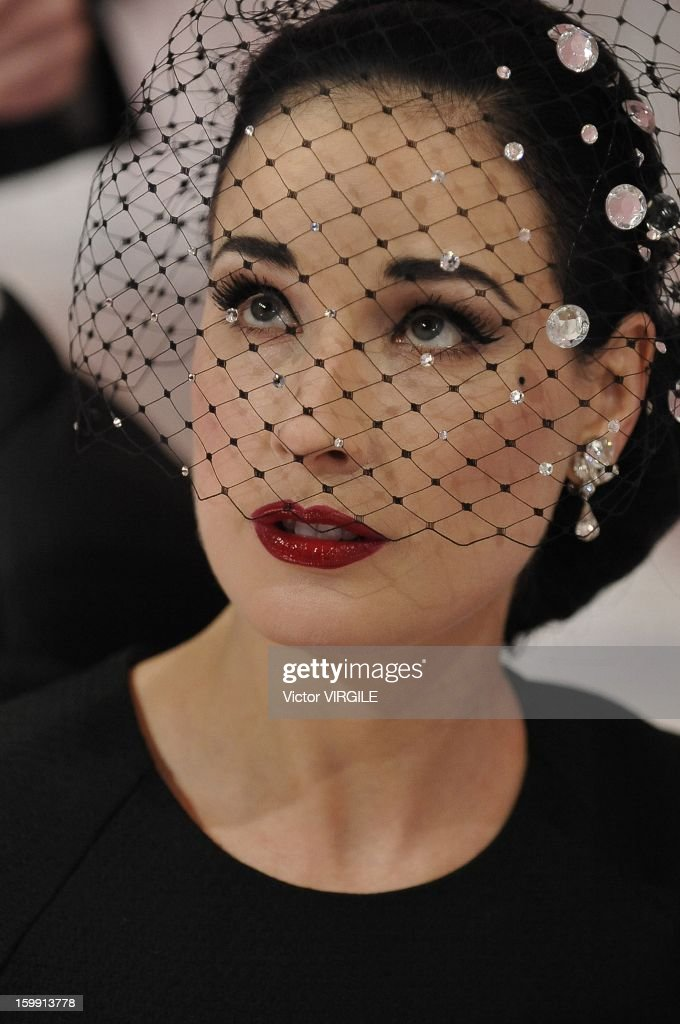 Burlesque artist <a gi-track='captionPersonalityLinkClicked' href=/galleries/search?phrase=Dita+Von+Teese&family=editorial&specificpeople=210578 ng-click='$event.stopPropagation()'>Dita Von Teese</a> attending the Alexis Mabille Spring/Summer 2013 Haute-Couture show as part of Paris Fashion Week at Mairie du 4e on January 21, 2013 in Paris, France.