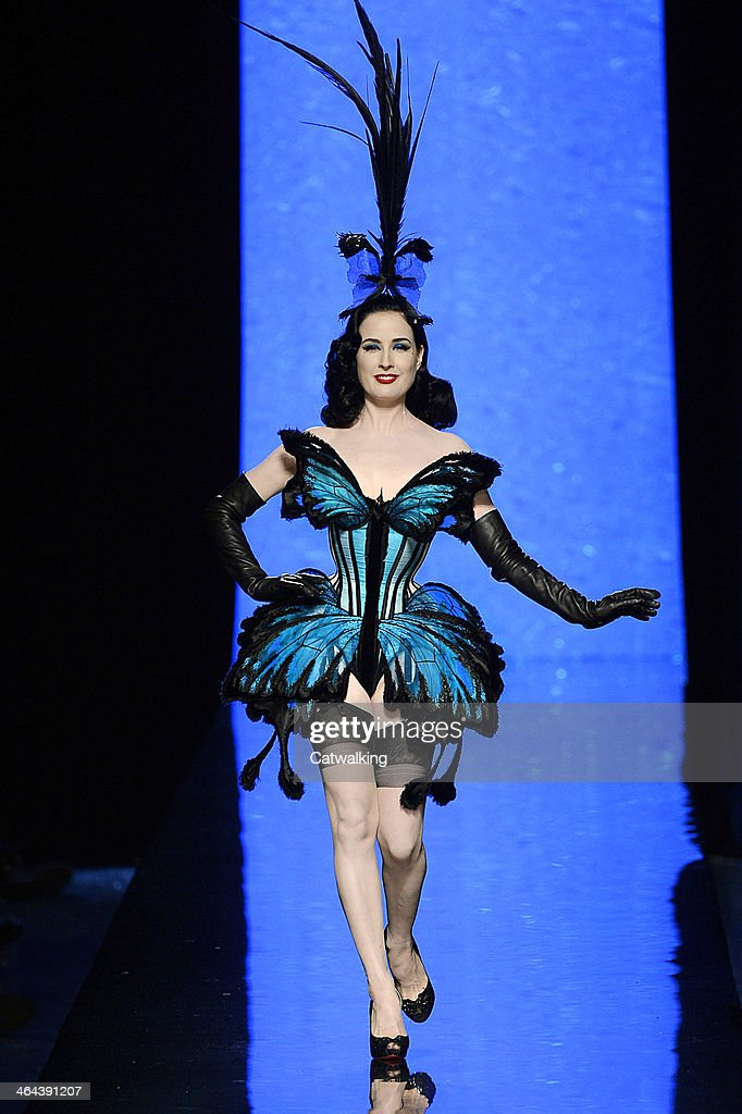 Burlesque artist <a gi-track='captionPersonalityLinkClicked' href=/galleries/search?phrase=Dita+Von+Teese&family=editorial&specificpeople=210578 ng-click='$event.stopPropagation()'>Dita Von Teese</a> walks the runway at the Jean Paul Gaultier Spring Summer 2014 fashion show during Paris Haute Couture Fashion Week on January 22, 2014 in Paris, France.