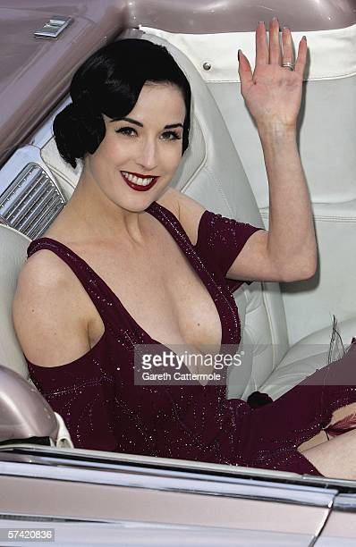 Burlesque dancer Dita Von Teese attends The Blush Ball raising funds for the construction of a third Breast Cancer Haven in North England at the...