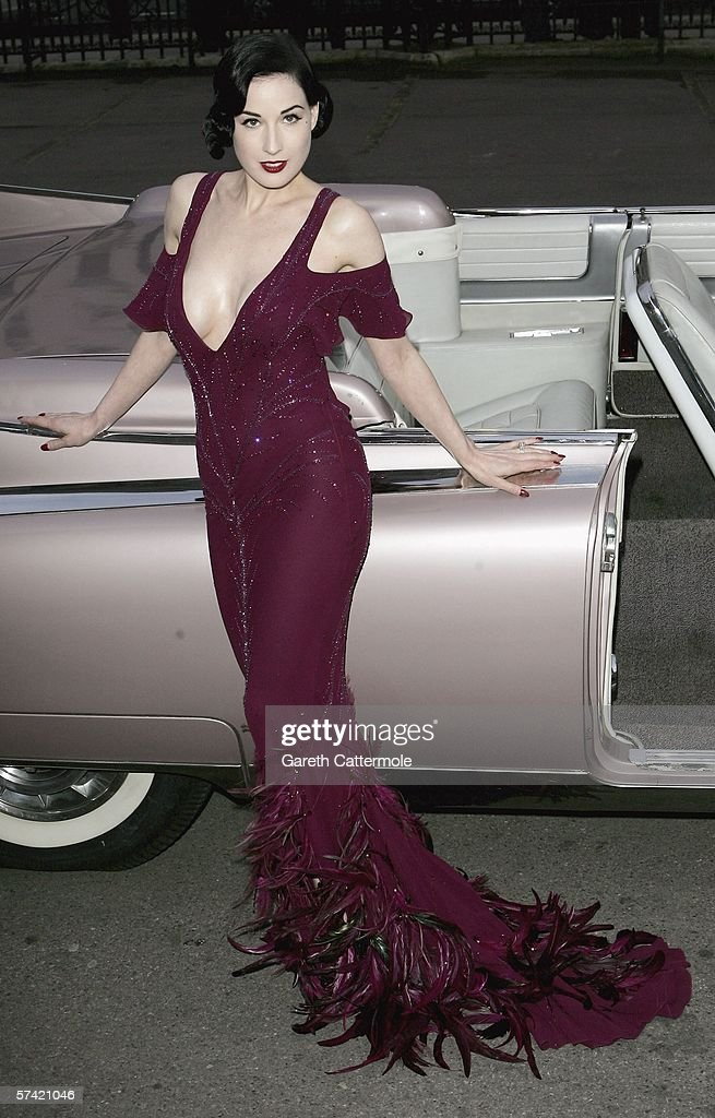 Burlesque dancer Dita Von Teese attends The Blush Ball, raising funds for the construction of a third Breast Cancer Haven in North England, at the Natural History Museum on April 25, 2006 in London, England.