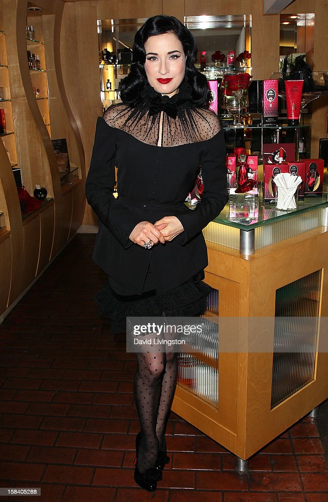 Burlesque dancer Dita Von Teese attends the U.S. launch of her fragrance 'Rouge' at Apothia by Ron Robinson at Fred Segal Melrose on December 15, 2012 in Los Angeles, California.