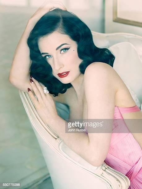 Burlesque dancer model costume designer and entrepreneur Dita Von Teese is photographed for Hello UK on November 1 2015 in Los Angeles California