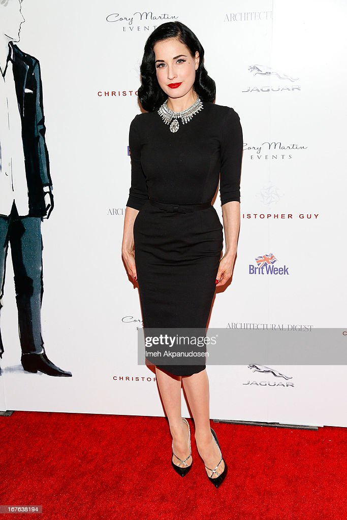 Burlesque star <a gi-track='captionPersonalityLinkClicked' href=/galleries/search?phrase=Dita+Von+Teese&family=editorial&specificpeople=210578 ng-click='$event.stopPropagation()'>Dita Von Teese</a> attends the 7th Annual Britweek: BritWeek Design Icon Award Presentation at Christopher Guy West Hollywood Showroom on April 26, 2013 in West Hollywood, California.
