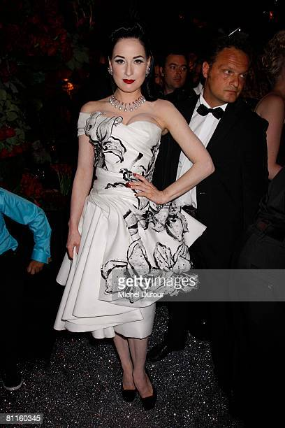 Burlesque star Dita von Teese attends the Chopard Trophy Award during the 61st International Cannes Film Festival at Carlton Hotel May 19 2008 in...