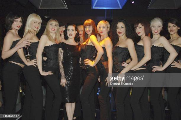 Burlesque superstar Dita Von Teese and crazy horse dancers attend the party to reveal the winner of MGM Grand's Crazy Horse Paris American auditions...