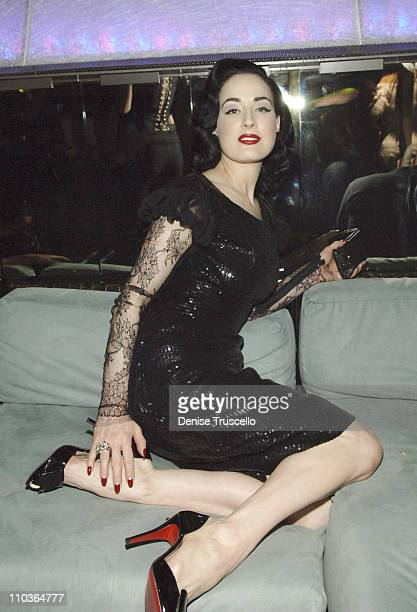 Burlesque superstar Dita Von Teese attends the party to reveal the winner of MGM Grand's Crazy Horse Paris American auditions at Tabu Ultra Lounge on...