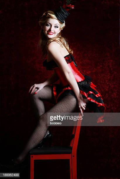 Burlesque woman in red