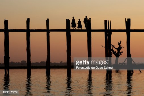 Burma U bein bridge : Stock Photo