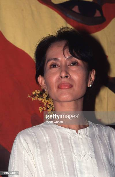 Burmese dissident and Nobel Peace Prize laureate Aung San Suu Kyi seen here at her home during a brief respite from house arrest in 1996