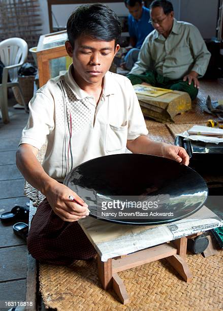 Burmese Man Making Laccquerware in Mynanmar.
