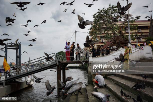 TOPSHOT Burmese migrants feed and watch pigeons on the pier of Wat Rakhang temple in Bangkok on April 17 2017 / AFP PHOTO / LILLIAN SUWANRUMPHA