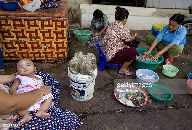Burmese migrants workers peel shrimp outside a shrimp factory as a baby sleeps February 25 2010 in Mahachai Thailand Migrant workers mostly Burmese...
