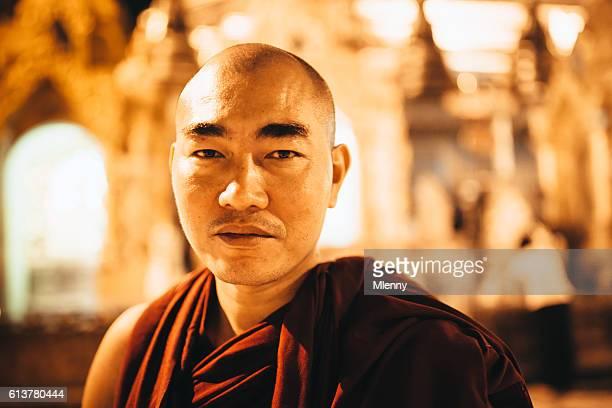Burmese Monk Shwedagon Pagoda Myanmar Portrait