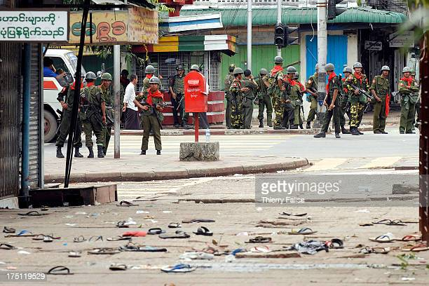 Burmese soldiers are closing access to the Sule pagoda a main monastery downtown Rangoon and a rallying point for antijunta demonstrators These are...