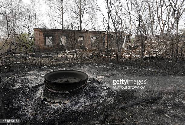 A burned building is seen after a recent forest fire on May 1 2015 in Lubyanka a village in the Chernobyl zone Firefighters nearly extinguished a...