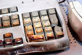Flammed and burned german computer keyboard.