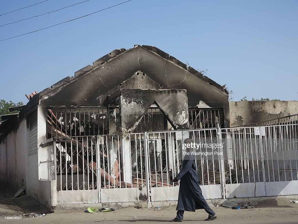 A burned down house in Maiduguri, Nigeria on December 26, 2012. Government security forces burned the house down, according to residents. The security forces have also carried out extra-judicial killings, looted, and burned shops and houses, according to victims, local officials and human rights activists.