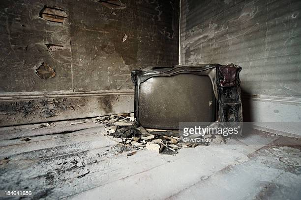 Burned television.
