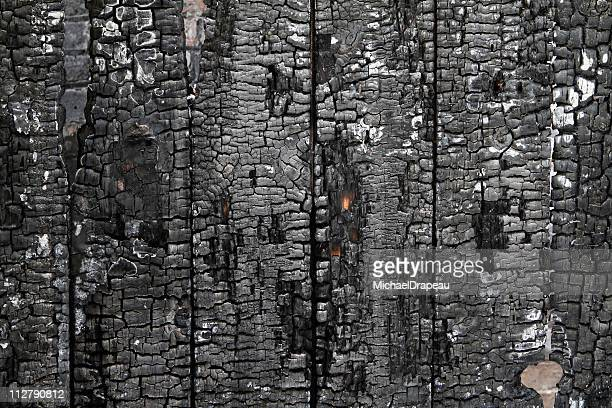 Burned wall of wood plate