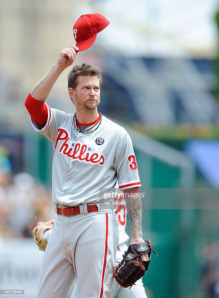 <a gi-track='captionPersonalityLinkClicked' href=/galleries/search?phrase=A.J.+Burnett&family=editorial&specificpeople=213103 ng-click='$event.stopPropagation()'>A.J. Burnett</a> #34 of the Philadelphia Phillies acknowledges the crowd in his first appearance against the Pittsburgh Pirates during the first inning on July 6, 2014 at PNC Park in Pittsburgh, Pennsylvania.