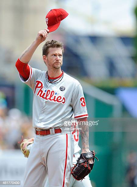 J Burnett of the Philadelphia Phillies acknowledges the crowd in his first appearance against the Pittsburgh Pirates during the first inning on July...