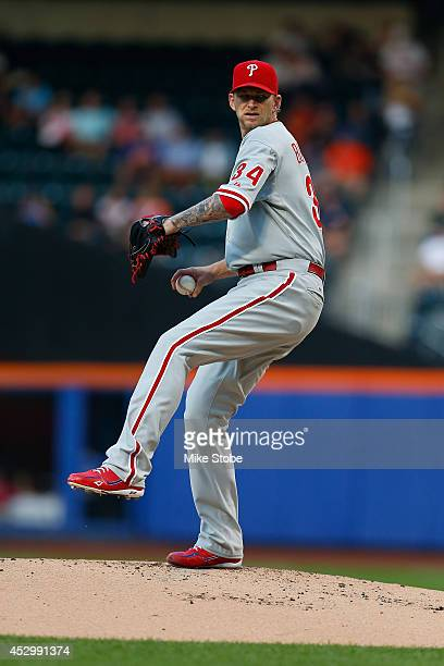 J Burnett of the Philadelphia Phillies in action against the New York Mets on July 28 2014 at Citi Field in the Flushing neighborhood of the Queens...