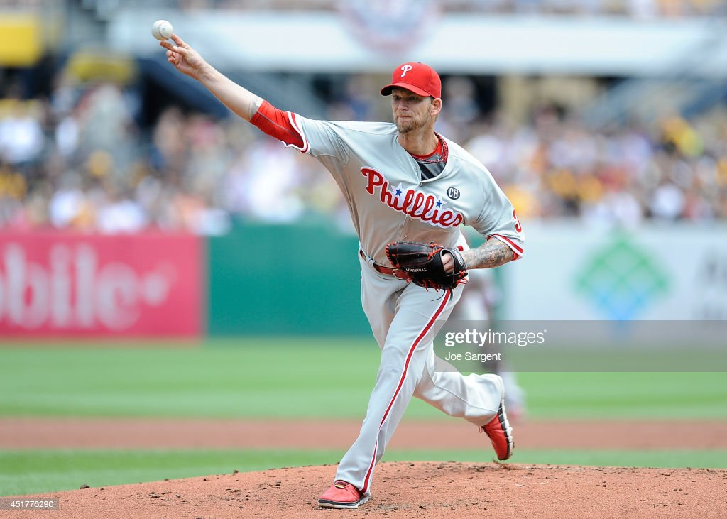 <a gi-track='captionPersonalityLinkClicked' href=/galleries/search?phrase=A.J.+Burnett&family=editorial&specificpeople=213103 ng-click='$event.stopPropagation()'>A.J. Burnett</a> #34 of the Philadelphia Phillies pitches during the first inning against the Pittsburgh Pirates on July 6, 2014 at PNC Park in Pittsburgh, Pennsylvania.