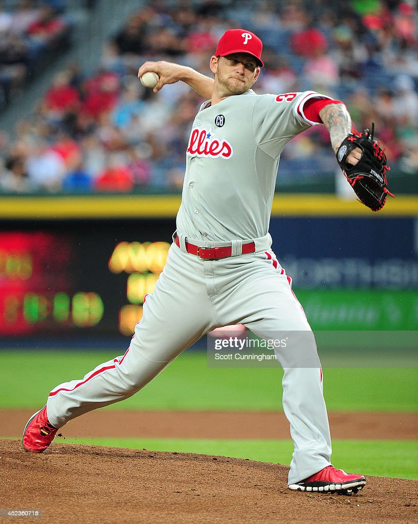 A. J. Burnett #34 of the Philadelphia Phillies throws a first inning pitch against the Atlanta Braves at Turner Field on July 18, 2014 in Atlanta, Georgia.