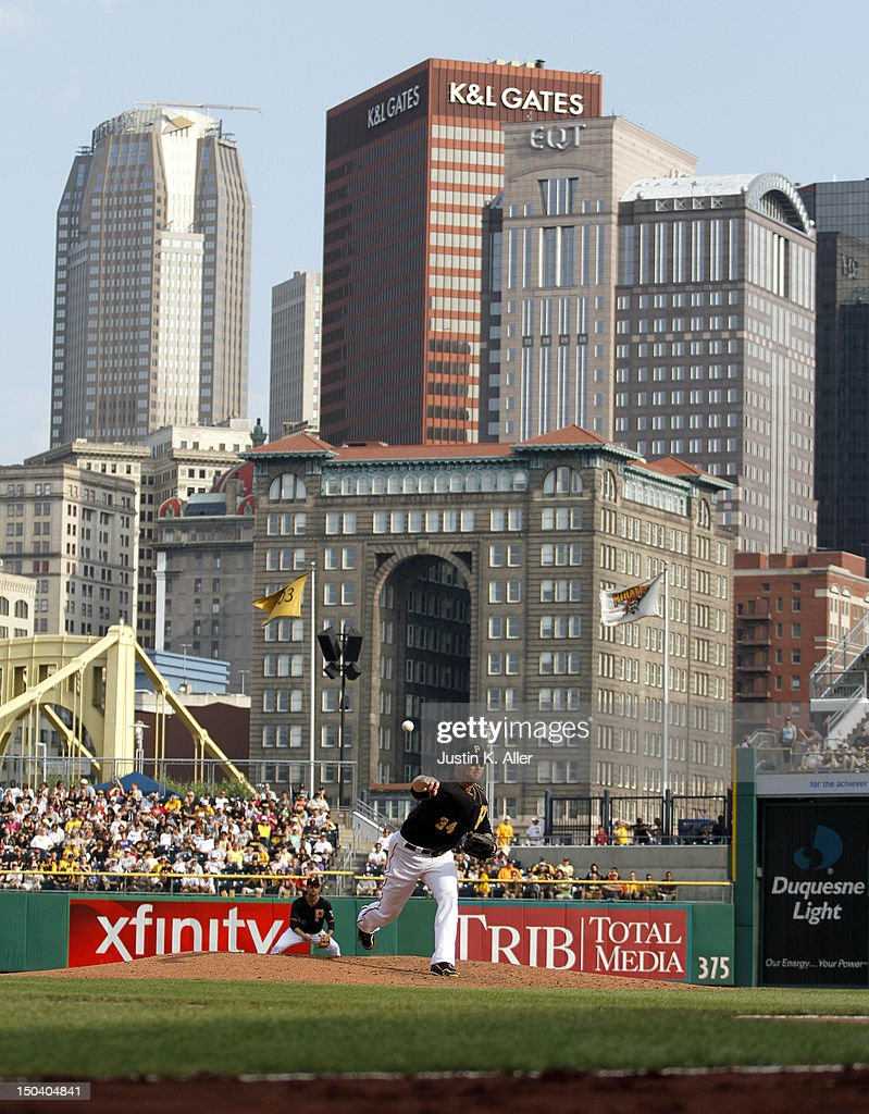 <a gi-track='captionPersonalityLinkClicked' href=/galleries/search?phrase=A.J.+Burnett&family=editorial&specificpeople=213103 ng-click='$event.stopPropagation()'>A.J. Burnett</a> #34 of the Pittsburgh Pirates pitches against the Los Angeles Dodgers during the game on August 16, 2012 at PNC Park in Pittsburgh, Pennsylvania.