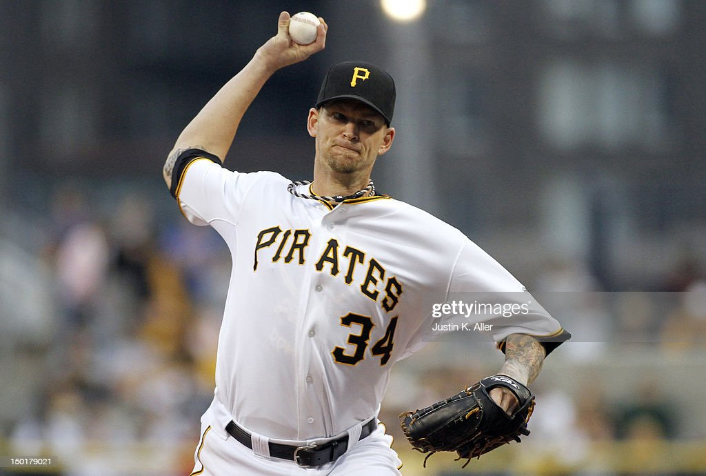 <a gi-track='captionPersonalityLinkClicked' href=/galleries/search?phrase=A.J.+Burnett&family=editorial&specificpeople=213103 ng-click='$event.stopPropagation()'>A.J. Burnett</a> #34 of the Pittsburgh Pirates pitches against the San Diego Padres during the game on August 11, 2012 at PNC Park in Pittsburgh, Pennsylvania.