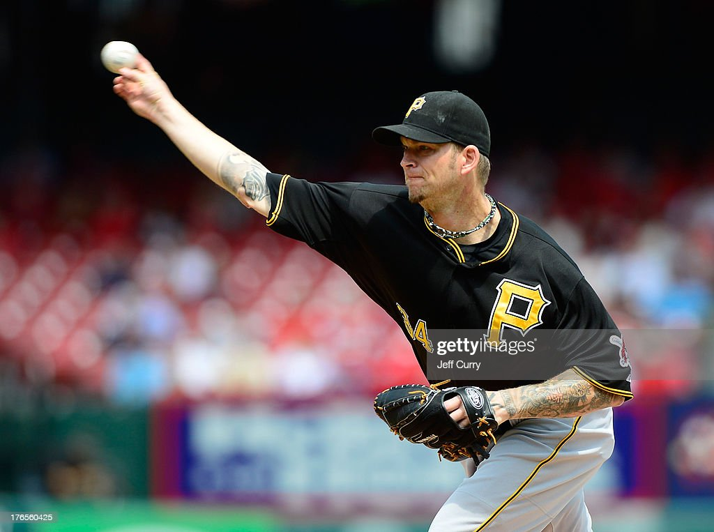 A.J. Burnett #34 of the Pittsburgh Pirates pitches against the St. Louis Cardinals during the first inning at Busch Stadium on August 15, 2013 in St. Louis, Missouri.
