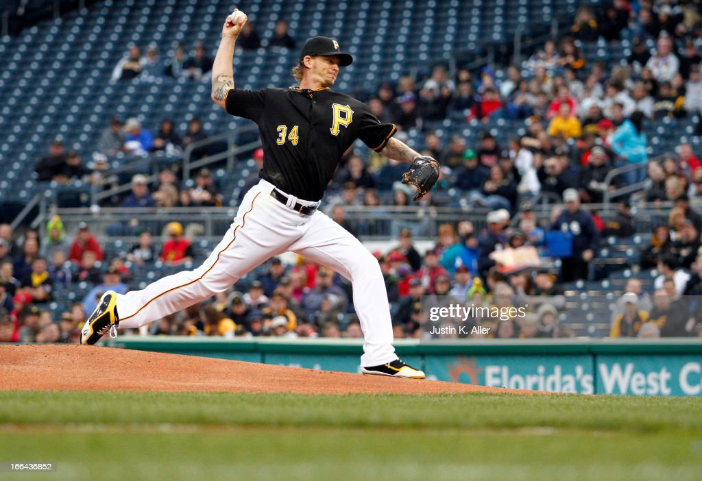 <a gi-track='captionPersonalityLinkClicked' href=/galleries/search?phrase=A.J.+Burnett&family=editorial&specificpeople=213103 ng-click='$event.stopPropagation()'>A.J. Burnett</a> #34 of the Pittsburgh Pirates pitches in the first inning against the Cincinnati Reds during the game on April 12, 2013 at PNC Park in Pittsburgh, Pennsylvania.