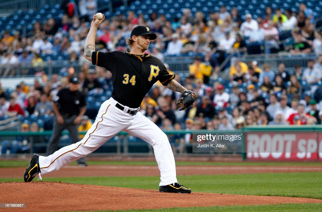 <a gi-track='captionPersonalityLinkClicked' href=/galleries/search?phrase=A.J.+Burnett&family=editorial&specificpeople=213103 ng-click='$event.stopPropagation()'>A.J. Burnett</a> #34 of the Pittsburgh Pirates pitches in the first inning Washington Nationals during the game on May 3, 2013 at PNC Park in Pittsburgh, Pennsylvania.