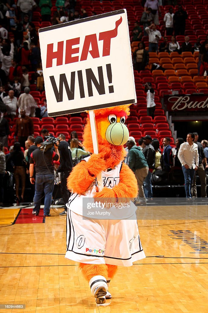 Burnie, mascot of the Miami Heat, celebrates the team's win against the Memphis Grizzlies on March 1, 2013 at American Airlines Arena in Miami, Florida.