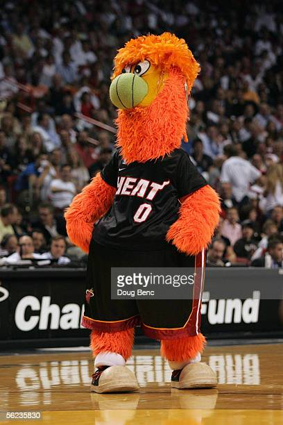 Burnie the Miami Heat mascot entertains the fans during a game between the Indiana Pacers and the Miami Heat at American Airlines Arena November 3...