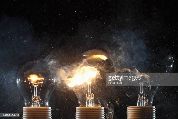 Burning and exploding light bulbs